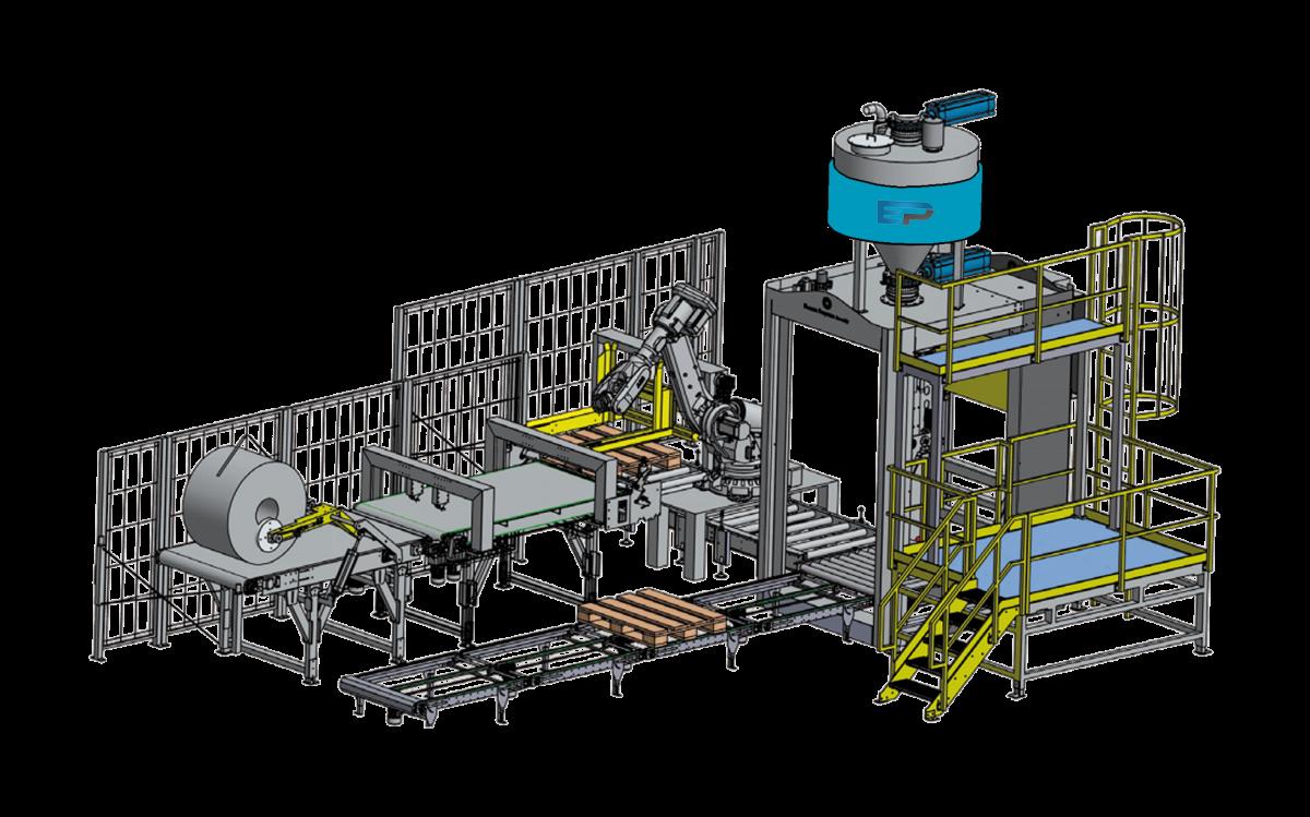 Esquema llenadora big-bag automática con robot