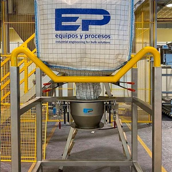Sistemas estancos de carga y descarga del Big-Bag- Manipulación del polvo de sílice o productos tóxicos
