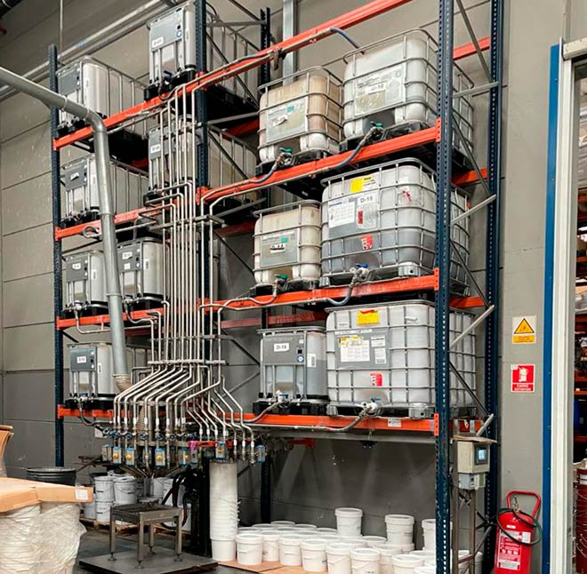 Instalaciones para almacenaje y dosificación de pinturas